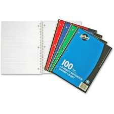 "Hilroy Executive Coil One Subject Notebook - 100 Sheets - Wire Bound - 8"" x 10 1/2"" - Assorted Paper - Subject - 1Each"