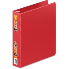 "Wilson Jones Heavy-duty D-ring Binder - 2"" Binder Capacity - D-Ring Fastener(s) - 2 Internal Pocket(s) - Vinyl - Red - Clear Overlay - 1 Each"