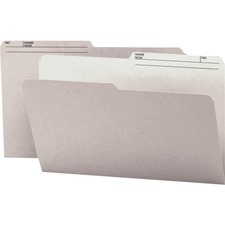 """Smead 1/2 Tab Cut Legal Recycled Top Tab File Folder - 9 1/2"""" x 14 5/8"""" - Paper - Gray - 10% Recycled - 100 / Box"""