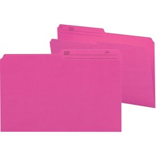 """Smead 1/2 Tab Cut Legal Recycled Top Tab File Folder - 9 1/2"""" x 14 5/8"""" - Paper - Dark Pink - 10% Recycled - 100 / Box"""