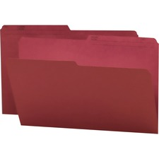 """Smead 1/2 Tab Cut Legal Recycled Top Tab File Folder - 9 1/2"""" x 14 5/8"""" - Paper - Maroon - 10% Recycled - 100 / Box"""