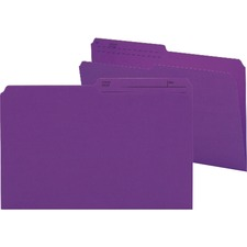 """Smead 1/2 Tab Cut Legal Recycled Top Tab File Folder - 9 1/2"""" x 14 5/8"""" - Paper - Purple - 10% Recycled - 100 / Box"""