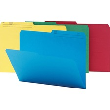 """Smead Colored 1/2 Tab Cut Legal Recycled Top Tab File Folder - 9 1/2"""" x 14 5/8"""" - Paper - Assorted - 30% Recycled - 100 / Box"""