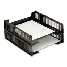 Korr Letter Stacking Tray - Desktop - Stackable - Black - Plastic - 1 Each