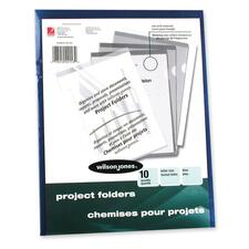 Wilson Jones Vinyl Pocket Folder - Letter - 50 Sheet Capacity - Vinyl - Blue - 10 / Pack