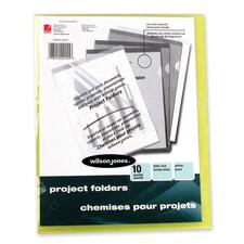 Wilson Jones Vinyl Pocket Folder - Letter - 50 Sheet Capacity - Vinyl - Yellow - 10 / Pack
