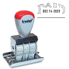 "Trodat Manual Paid Text Dater - Message/Date Stamp - ""PAID"" - 1 Each"
