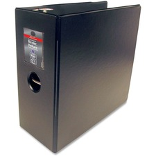 "Wilson Jones Professional Easy Load DublLock D-ring Binders - 5"" Binder Capacity - Letter - 8 1/2"" x 11"" Sheet Size - 3 x D-Ring Fastener(s) - Internal Pocket(s) - Leather, Vinyl - Black - Gap-free Ring, Locking Ring, Label Holder, Heavy Duty, PVC-free, Sheet Lifter - 1 Each"