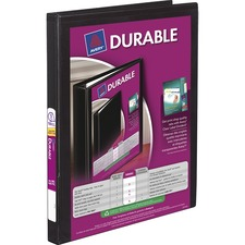 """Avery® Durable View Slant-D Presentation Binder - 1/2"""" Binder Capacity - Letter - 8 1/2"""" x 11"""" Sheet Size - D-Ring Fastener(s) - Black - Recycled - Durable, Gap-free Ring - 1 Each"""