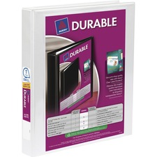 """Avery® Durable View Slant-D Presentation Binder - 1"""" Binder Capacity - Letter - 8 1/2"""" x 11"""" Sheet Size - D-Ring Fastener(s) - White - Recycled - Durable, Gap-free Ring - 1 Each"""