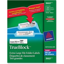 "Avery® Extra Large Filing Label - 15/16"" x 3 7/16"" Length - Rectangle - Laser, Inkjet - White - 360 / Pack"