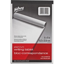 "Hilroy Social Stationery Writing Tablets Notebook - 100 Sheets - Plain - 6"" x 9"" - White Paper - Rigid - 1Each"