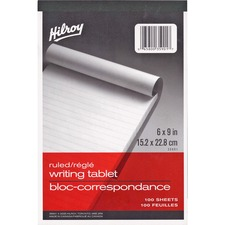 "Hilroy Social Stationery Writing Tablets Notebook - 100 Sheets - 6"" x 9"" - White Paper - Rigid - 1Each"