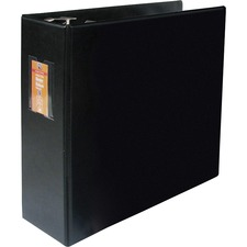 "Wilson Jones Label Holder Heavy-duty D-ring Binder - 4"" Binder Capacity - Letter - 8 1/2"" x 11"" Sheet Size - D-Ring Fastener(s) - 2 Inside Front & Back Pocket(s) - Vinyl - Black - Durable, Label Holder - 1 Each"