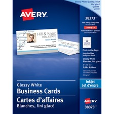 "Avery® Inkjet Print Business Card - 2"" x 3 1/2"" - Glossy - 120 / Pack - White"