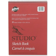 "Hilroy Professional Studio Sketch Book - 30 Sheets - Plain - Coilock - 9"" x 12"" - White Paper - Perforated, Easy Tear - 1Each"