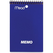"Mead 4""x6"" Wirebound Memo Book - 80 Pages - Wire Bound - 15 lb Basis Weight - 4"" x 6"" - White Paper - Assorted Cover - Stiff-back - 1Each"