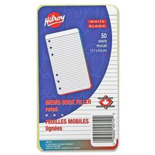 """Hilroy Memo Book Refills - 50 Sheets - Plain - 3 3/4"""" x 6 3/4"""" - White Paper - Punched - 50 / Pack"""