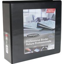 "Wilson Jones Professional Round-ring Customizer Binder - 3"" Binder Capacity - Letter - 8 1/2"" x 11"" Sheet Size - Round Ring Fastener(s) - Black - 1 Each"