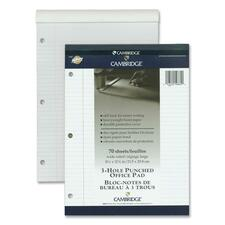 "Hilroy Cambridge Office Notepad - 70 Sheets - Wire Bound - Ruled - Ruled - 20 lb Basis Weight - 8 1/2"" x 11 3/4"" - White Paper - Numbered, Durable Cover, Easy Tear, Micro Perforated, Stiff-back - 1Each"