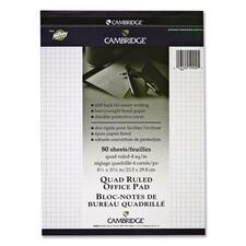 """Hilroy Cambridge Quad Ruled Office Pad - 80 Sheets - Strip - 16 lb Basis Weight - 8 1/2"""" x 11 3/4"""" - White Binder - Rigid - 1Each"""