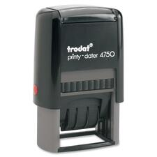 """Trodat 4750 Self Inking Stamp - Message/Date Stamp - """"PAID/WINDOW"""" - Blue, Red - Plastic - 1 Each"""