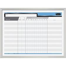"Quartet Bilingual Personnel Dry-Erase Board - 24"" (2 ft) Width x 18"" (1.5 ft) Height - Aluminum Frame - 1 Each"