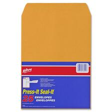 "Hilroy Press-It Seal-It Kraft Adhesive Envelope - Business - 9"" Width x 12"" Length - 25 / Pack"