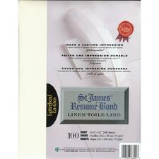 "First Base Inkjet, Laser Bond Paper - Ivory - Letter - 8 1/2"" x 11"" - 24 lb Basis Weight - Linen - 100 / Pack"