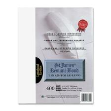 """First Base Inkjet, Laser Bond Paper - White - Recycled - Letter - 8 1/2"""" x 11"""" - 24 lb Basis Weight - Linen - 400 / Pack"""