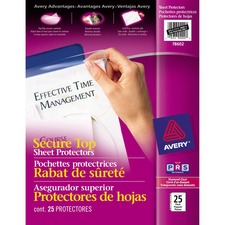 "Avery® Secure Top Sheet Protector - For Letter 8 1/2"" x 11"" Sheet - Ring Binder - Rectangular - Clear - Polypropylene - 25 / Pack"