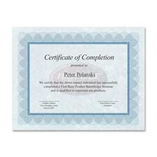 "First Base Regent Certificate - 24 lb - 8.50"" x 11"" - Blue, Silver25 / Pack"