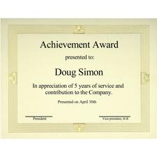 "First Base Capital Gold Foil/Linen Certificate - 24 lb - 8.50"" x 11"" - Gold - Paper"
