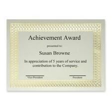 "First Base Classic Gold Foil/Linen Certificate - 24 lb - 8.50"" x 11"" - Paper - 12 / Pack"