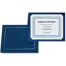 "First Base 83434 Certificate Holder with Gold Folio - Letter, A4 - 8"" x 10"", 8 1/2"" x 11"", 8 17/64"" x 11 11/16"" Sheet Size - Navy Blue - 5 / Pack"