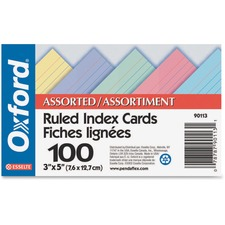 """Oxford Printable Index Card - 3"""" x 5"""" - 100 lb Basis Weight - Recycled - 100 / Pack - Assorted"""