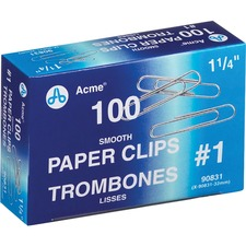 Acme United Smooth Paper Clip - 100 / Pack - Steel