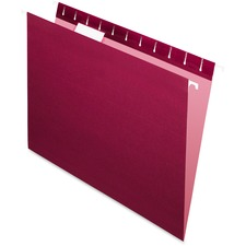 "Pendaflex 1/5 Tab Cut Letter Recycled Hanging Folder - 8 1/2"" x 11"" - Burgundy - 10% Recycled - 25 / Box"