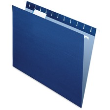 "Pendaflex 1/5 Tab Cut Letter Recycled Hanging Folder - 8 1/2"" x 11"" - Navy - 10% Recycled - 25 / Box"