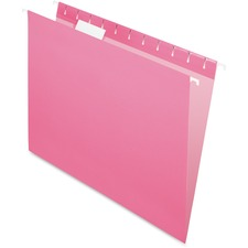 "Pendaflex 1/5 Tab Cut Letter Recycled Hanging Folder - 8 1/2"" x 11"" - Pink - 10% Recycled - 25 / Box"