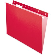 "Pendaflex 1/5 Tab Cut Letter Recycled Hanging Folder - 8 1/2"" x 11"" - Red - 10% Recycled - 25 / Box"
