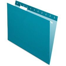 "Pendaflex 1/5 Tab Cut Letter Recycled Hanging Folder - 8 1/2"" x 11"" - Teal - 10% Recycled - 25 / Box"