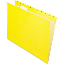 "Pendaflex 1/5 Tab Cut Letter Recycled Hanging Folder - 8 1/2"" x 11"" - Yellow - 10% Recycled - 25 / Box"
