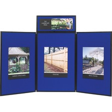 "Apollo 93513 3-Panel Tabletop Showboard - 36"" (914.40 mm) Height x 72"" (1828.80 mm) Width - Blue Fabric Surface - 1 Each"