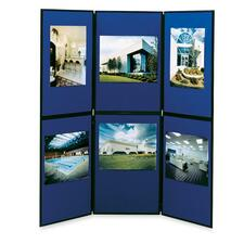 "Apollo 93516 6-Panel Floor/Tabletop Display - 72"" (1828.80 mm) Height x 72"" (1828.80 mm) Width - Blue Fabric Surface - 1 Each"