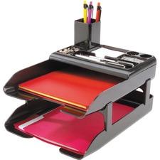 "Deflecto Corporate Desk Tray Set - 2.6"" Height x 10.3"" Width x 8"" Depth - Desktop - Black - Plastic - 5 / Set"