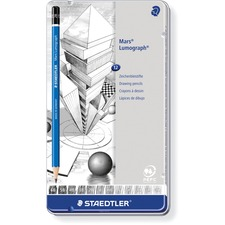 Staedtler Mars Lumograph Drawing Pencil - B, 3B, 4B, 5B, 6B, F, H, 2H, 3H, 4H, HB Lead - Graphite Lead - Cedar Barrel - 12 / Set