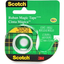 "3M Scotch Magic Transparent Tape with handheld Dispenser - 0.50"" (12.7 mm) Width x 12.5 yd (11.4 m) Length - Writable Surface - Dispenser Included - 1 Each - Clear"