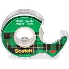 "3M Scotch Magic Transparent Tape with Dispenser - 0.75"" (19 mm) Width x 18 yd (16.5 m) Length - Plastic - Photo-safe, Non-yellowing, Writable Surface, Repositionable - 1 Each - Clear"