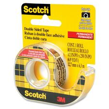 "3M Scotch Double-Sided Tape - 0.50"" (12.7 mm) Width x 20.8 ft (6.4 m) Length - Photo-safe, Non-yellowing - Dispenser Included - 1 Each - Clear"
